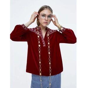 Zara medium Velvet Blouse Top Embroidered Red
